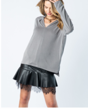 NWT Vocal Gray Long Sleeve V Neck Top  - $26.00
