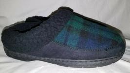Dearfoams Women's Clog Green Plaid Memory Foam Sherpa Cuff Slippers Small 5-6 - $23.76