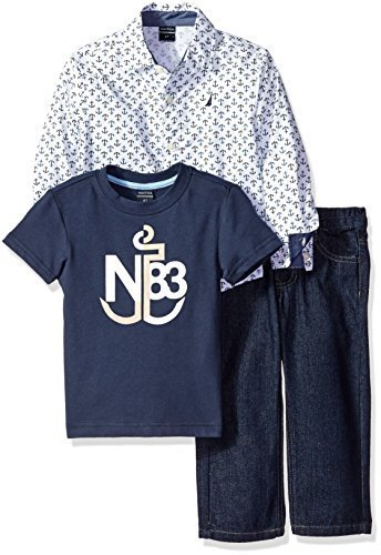 Nautica Little Boys' Toddler Three Piece Set with Long Sleeve Pattern Woven Shir