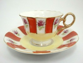 Vintage Demitasse Cup and Saucer Rust & White Panels Purple Flowers Gild... - $15.04