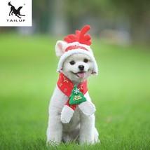 TAILUP S-XXL Dog Cat Caps Pet Santa Birthday Scarf Antler Christmas Hat ... - $12.76+