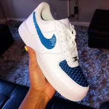 Customized Nike Air Force Ones Blue Gator Skin Leather Monogram Sneaker ... - $250.00+