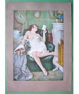NUDE Lovely Maiden Reading Love Letter - COLOR Antique Print - $18.90