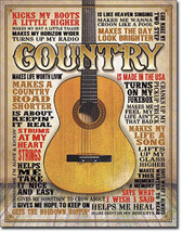 Country Music Guitarists Guitar Acoustic Electric Music Musician Metal Sign - $18.95