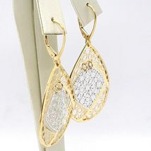 18K YELLOW WHITE GOLD PENDANT EARRINGS, BIG FINELY WORKED DROPS, MADE IN ITALY image 2