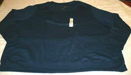Terra & Sky Fleece Crew Long Sleeve Shirt Blue Cove 3X 24-26W Generous Fit - $15.83