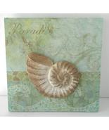 "3D ArtWork 8"" X 8"" Paradise Sea Shell Beach House Motif - $17.81"
