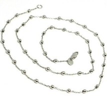 18K WHITE GOLD BALLS CHAIN 2 MM, 35 INCHES LONG, SPHERE ALTERNATE OVAL ROLO image 1
