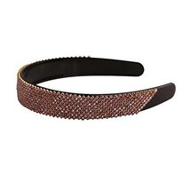 Coffee Beaded Hair Hoop Bling Bling Headband Wide Hairband Women Hair Accessory