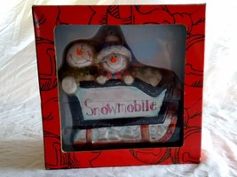 "Kurt S. Adler Snowmobile Snowmen Ornament Blown Glass Santa's World 5"" - $16.82"