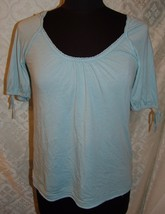 American Eagle Outfitters Top S Baby Blue Blouse Soft AE Round Neck Shor... - $15.26