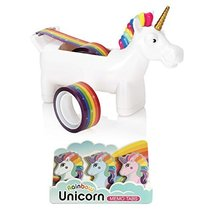 Unicorn Tape Dispenser with 2 x Rolls of Rainbow Tape with Rainbow Unico... - $19.89