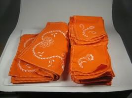 Napkins 19 Placemats 9 Set 28 Orange Stitching Lace Embroidery Irregular... - $24.74