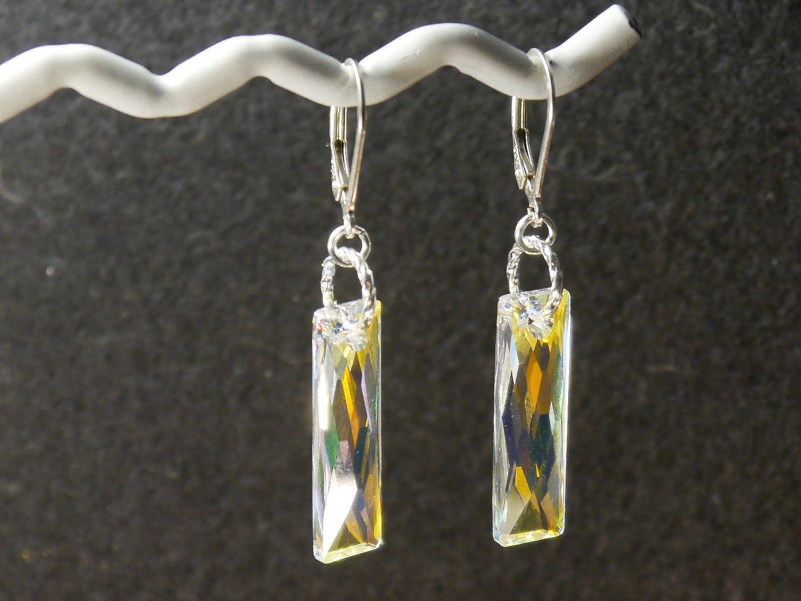 Swarovski Dangle Earrings /AB/ 925 Sterling / w/Swarovski Elements / USA