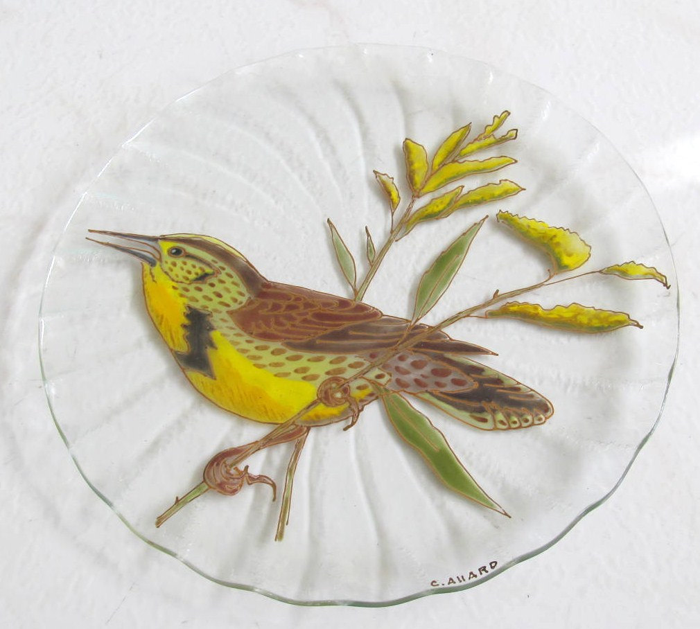 "Handpainted Glass Art untitled ""Bird"" Yellow-throated Long Claw, Masai Mara Keny"
