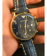 BRAND NEW EMPORIO ARMANI Chronograph Blue Dial Blue Leather Men's Watch ... - $148.67