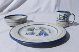 Louisville Stoneware Child's Setting Fishing With Dog Sunny Day Plate Bowl Cup - $59.35