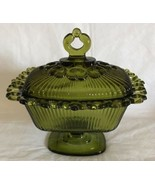 Vtg Indiana Glass Green Open Lace Ribbed Pedestal Covered Candy/Nut Dish... - $29.69
