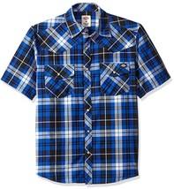 Dickies Men's Premium Short Sleeve Snap Button Plaid Western Shirt Blue size M