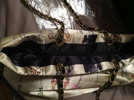 Large Silk Shopper Tote Bag w/ chain strap in EUC 20 years of shoes Collectable