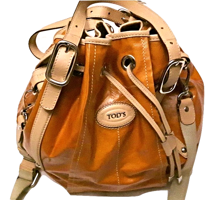 67b285bf26752 Img 5936222717 1525753832. Img 5936222717 1525753832. Previous. Authentic  Tod's orange coated canvas drawstring bucket bag