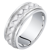 Men's 8mm Sterling Silver Criss-Cross Wedding Band - $114.99