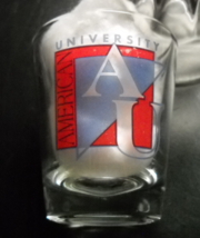 American University Shot Glass Clear Glass with AU Blue AU Red Black Logo  - $6.99