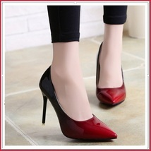 Red Gradient Black Shiny Patent Leather Classic Stiletto High Heel Pumps image 2