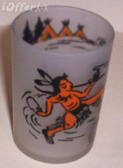 Primary image for 1960'S RETRO HAZEL ATLAS-- FROSTED INDIAN POWOW GLASS TUMBLER
