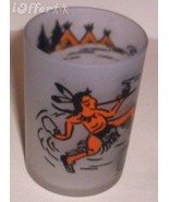 1960'S RETRO HAZEL ATLAS-- FROSTED INDIAN POWOW GLASS TUMBLER - $8.95
