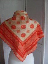 "Robinson & Golluber Scarf Tangerine Tan Color Lace Design 26"" Square 66cm - $29.65"