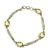 Genuine Citrine 925 Silver For Women Bracelet Jewelry Prong Style Length... - $39.60
