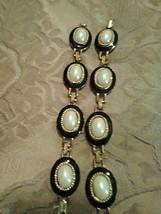 VINTAGE GOLDEN PAIR OF BLK ENAMEL FAUX MABE PEARL BRACELETS + DROP EARRINGS - $135.00