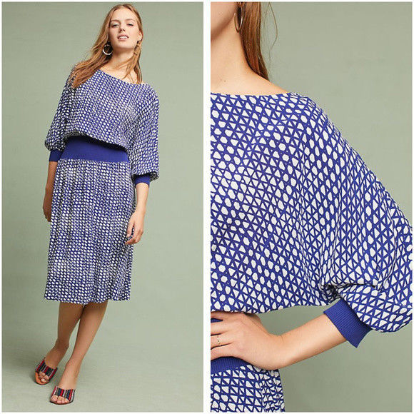 NWT Anthropologie MAEVE Gemma Dress $138 XL Blue/White