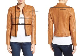 Designer Ladies Brown Leather Motorcycle Jacket-LD-09 image 6
