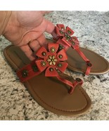 MONTEGO BAY CLUB Coral Orange Sandals Floral Medallion Open Toes Flats S... - $16.78