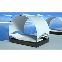 vidaXL Sun Lounger w/ Canopy Poly Rattan Wicker Black 2-Person Garden Da... - $314.99