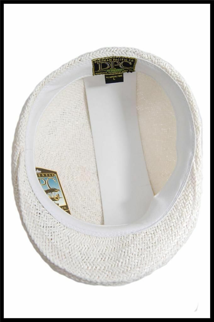 NEW Dorfman Pacific Company Straw Type Summer Hat All Natural Fibers Tan, White image 3