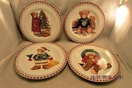 "SAKURA DEBBIE MUMM SET ""CHRISTMAS BEARS""  SALAD, DESSERT, PLATES lot of 4 - $12.19"