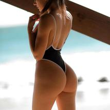 Women 's Sexy Deep V Neck One Piece Backless Thong Swimsuit image 5