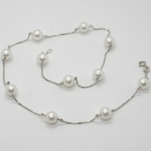 18K WHITE GOLD NECKLACE, VENETIAN CHAIN ALTERNATE WITH AKOYA WHITE PEARLS 8.5 MM image 1