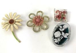 Lot Of 4 Vintage Floral Brooches Metal Plastic Rhinestone Hippy Boho - $17.81