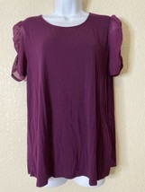 Investments Womens Size L Purple Blouse Sheer Sleeve - $11.88