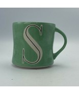 ANTHROPOLOGIE Colorway Letter S Monogram Initial Green Coffee Mug Cup 14oz - $9.89
