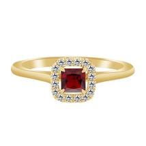 1.43 Ct Garnet & Diamond 10k Yelllow Gold Over 925 Halo Engagement Ring - $79.99