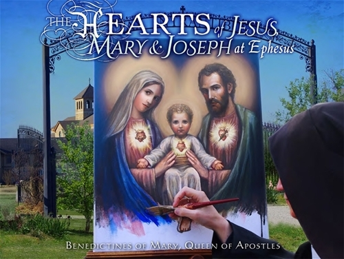 The hearts of jesus  mary   joseph at ephesus by benedictines of mary queen of apostles