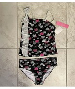 ST.TROPEZ Girls (7-16) St. Tropez Dotted Hearts Tankini  Size14, Black P... - $15.00