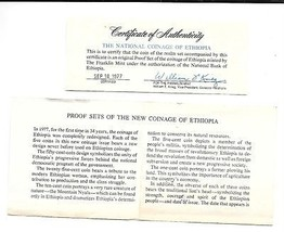 1977 Ethiopia 5 Coin 2 Piece C.O.A. And Document Set~No Coins~Free Shipping - $6.46