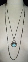 Vintage Goldette Blue Robins Egg Art Glass FOB Style Pendant Necklace - $74.25