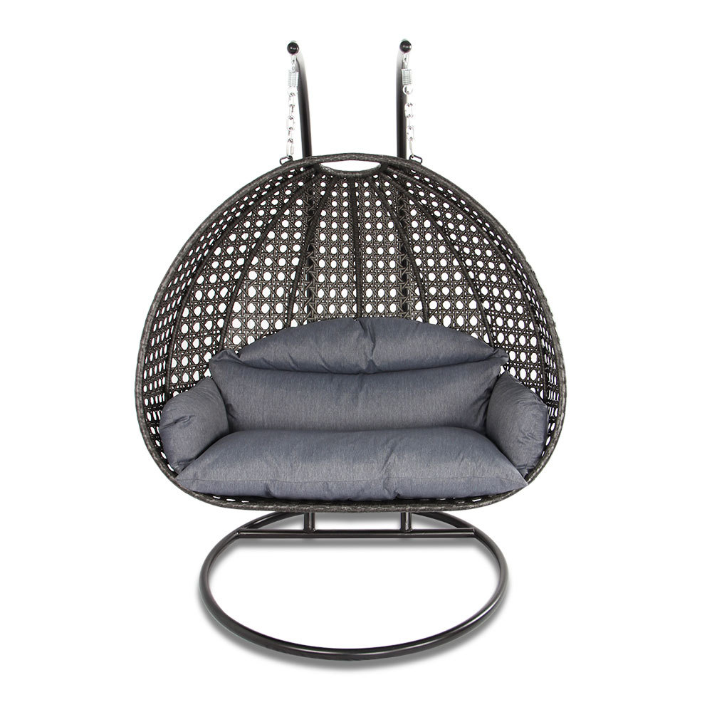 2 person outdoor patio rattan hanging wicker swing chair. Black Bedroom Furniture Sets. Home Design Ideas